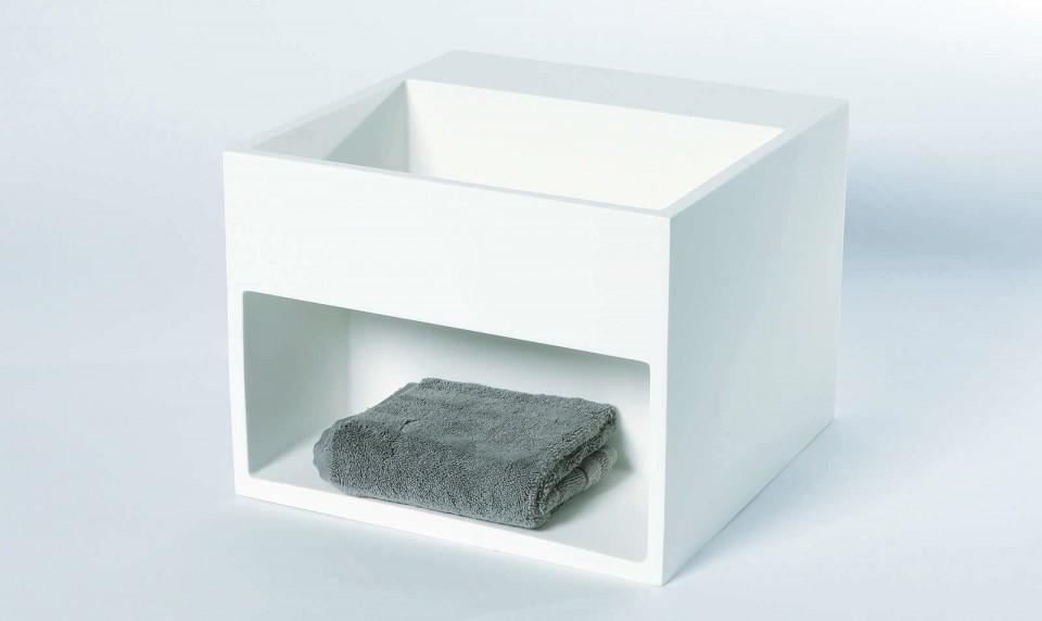 Luca Sanitair Fontein vierkant met schap Solid Surface Mat Wit