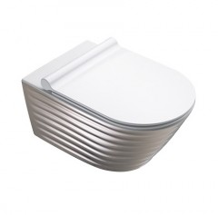 Classy New Flush Wit/Zilver zwevend toilet 55x35 - cod. 1VS55RZEBA