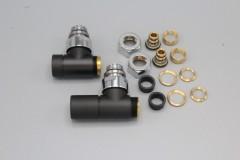 Instamat Cylinder luxe radiator haakse aansluitset Zwart mat gelakt CB.HA