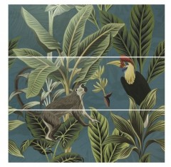 Wandtegel Silk Decor set(3) ABC Toucan Blue 40x120cm