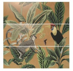 Wandtegel Silk Decor set(3) ABC Toucan Ocre 40x120cm