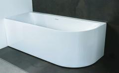 Luca Primo halfvrijstaand acryl hoekbad 180x80cm glans Wit